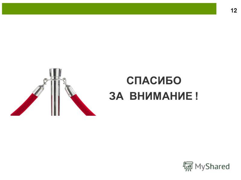 СПАСИБО ЗА ВНИМАНИЕ ! 12