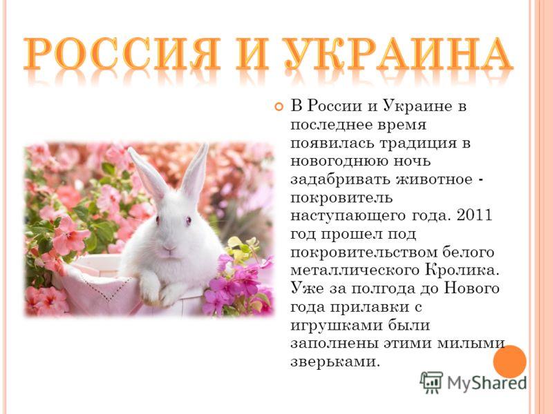 В России и Украине в последнее время появилась традиция в новогоднюю ночь задабривать животное - покровитель наступающего года. 2011 год прошел под покровительством белого металлического Кролика. Уже за полгода до Нового года прилавки с игрушками был