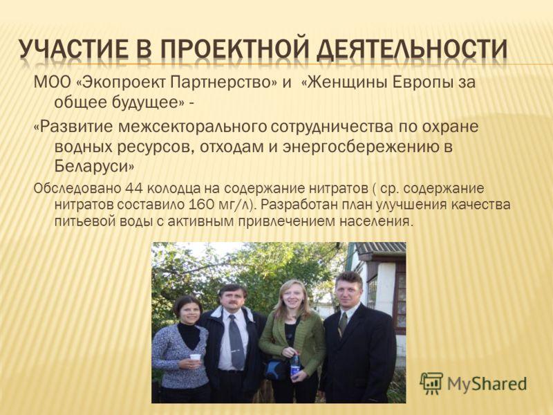 MOO «Экопроект Партнерство» и «Женщины Европы за общее будущее» - «Развитие межсекторального сотрудничества по охране водных ресурсов, отходам и энергосбережению в Беларуси» Обследовано 44 колодца на содержание нитратов ( ср. содержание нитратов сост