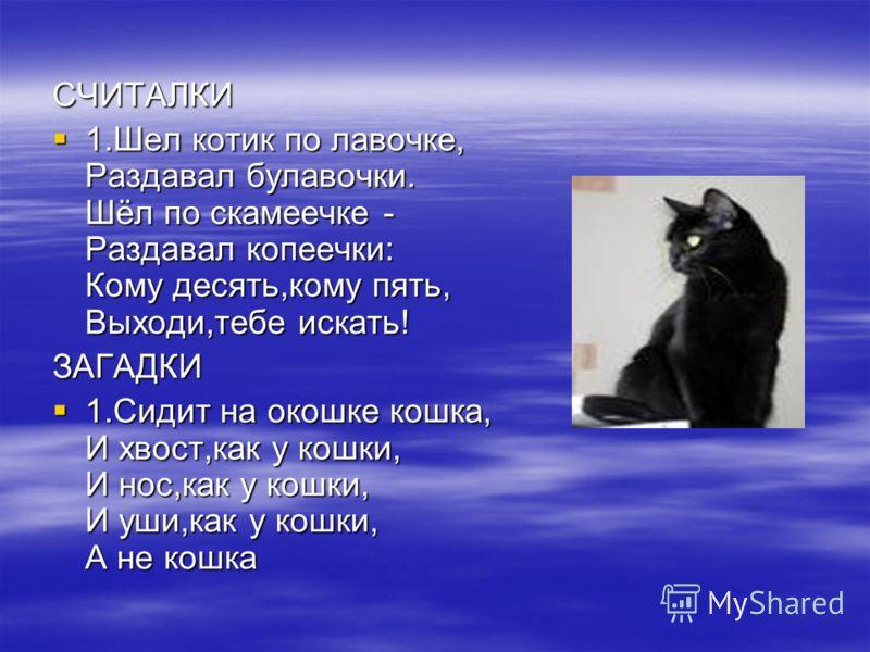 СЧИТАЛКИ 1.Шел котик по лавочке, Раздавал булавочки. Шёл по скамеечке - Раздавал копеечки: Кому десять,кому пять, Выходи,тебе искать! 1.Шел котик по лавочке, Раздавал булавочки. Шёл по скамеечке - Раздавал копеечки: Кому десять,кому пять, Выходи,тебе