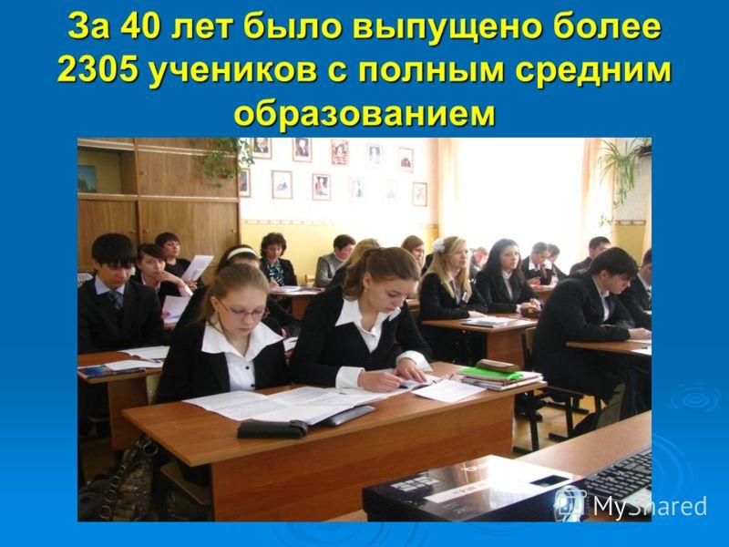 За 40 лет было выпущено более 2305 учеников с полным средним образованием