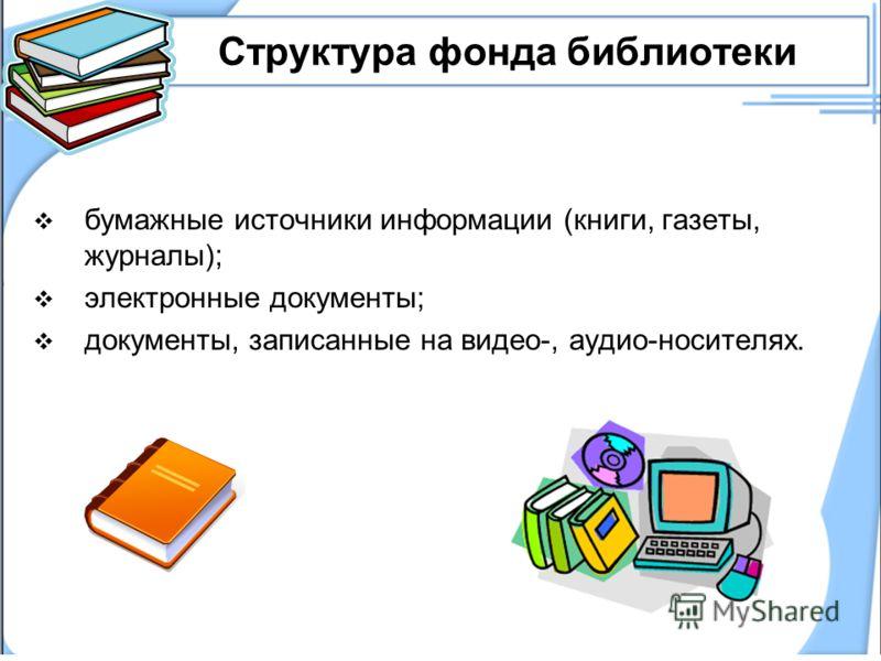 Структура фонда библиотеки бумажные источники информации (книги, газеты, журналы); электронные документы; документы, записанные на видео-, аудио-носителях.