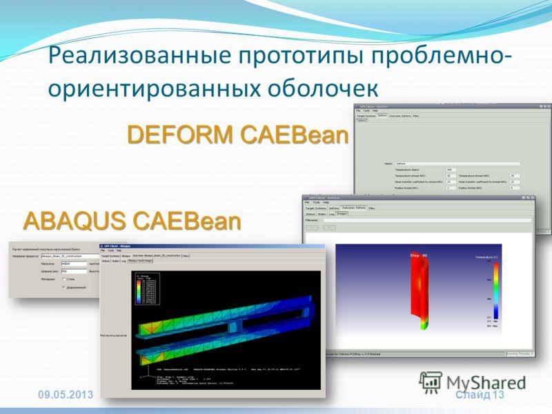 09.05.2013Слайд 13 DEFORM CAEBean Реализованные прототипы проблемно- ориентированных оболочек ABAQUS CAEBean