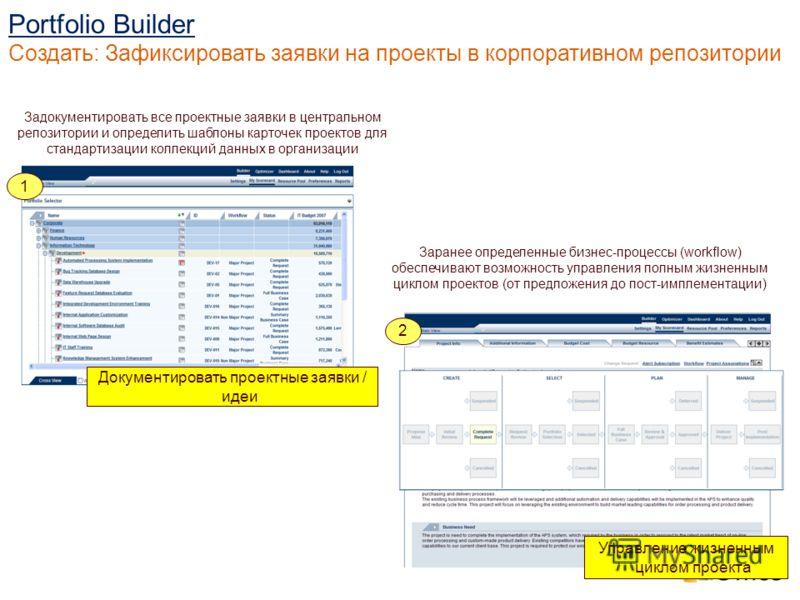 Заранее определенные бизнес-процессы (workflow) обеспечивают возможность управления полным жизненным циклом проектов (от предложения до пост-имплементации) Задокументировать все проектные заявки в центральном репозитории и определить шаблоны карточек