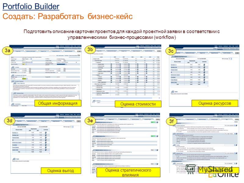 Подготовить описание карточек проектов для каждой проектной заявки в соответствии с управленческими бизнес-процессами (workflow) Общая информация 3a 2 Portfolio Builder Создать: Разработать бизнес-кейс Оценка стоимости Оценка ресурсов Оценка выгод Оц