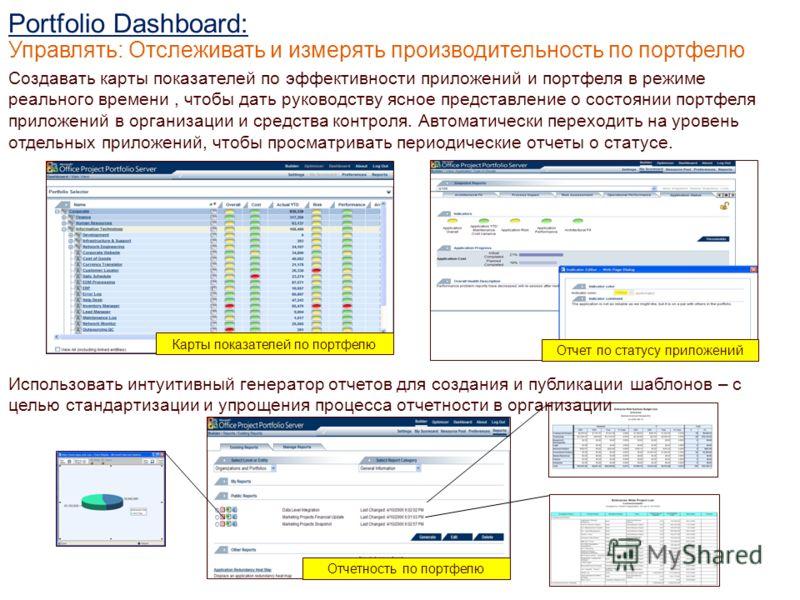 Создавать карты показателей по эффективности приложений и портфеля в режиме реального времени, чтобы дать руководству ясное представление о состоянии портфеля приложений в организации и средства контроля. Автоматически переходить на уровень отдельных