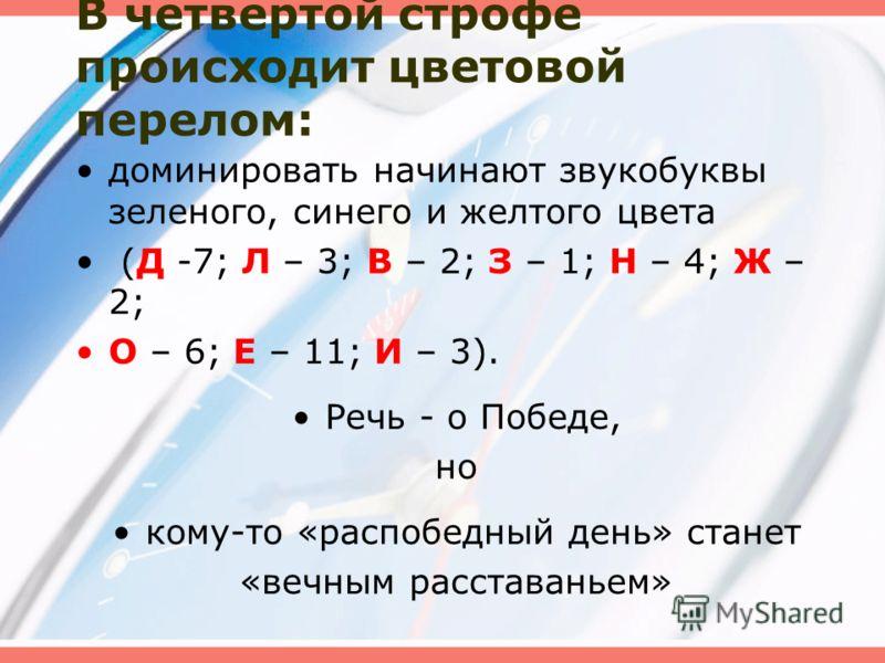 В четвертой строфе происходит цветовой перелом: доминировать начинают звукобуквы зеленого, синего и желтого цвета (Д -7; Л – 3; В – 2; З – 1; Н – 4; Ж – 2; О – 6; Е – 11; И – 3). Речь - о Победе, но кому-то «распобедный день» станет «вечным расставан