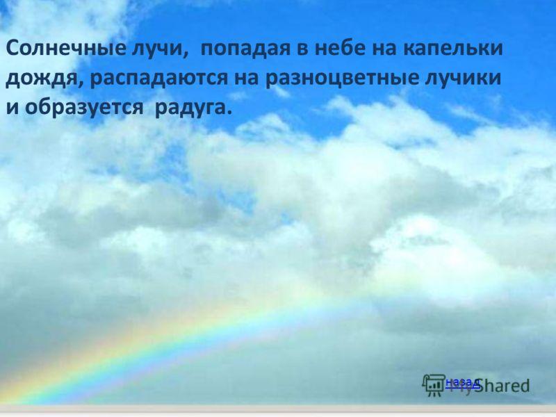 Солнечные лучи, попадая в небе на капельки дождя, распадаются на разноцветные лучики и образуется радуга. назад