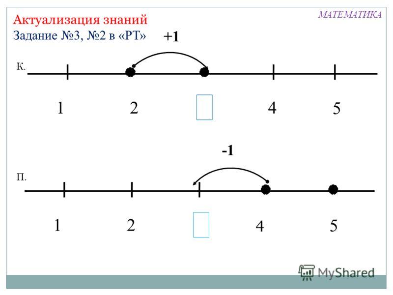 +1 Актуализация знаний Задание 3, 2 в «РТ» 124 5 К. 12 5 П. 4 МАТЕМАТИКА