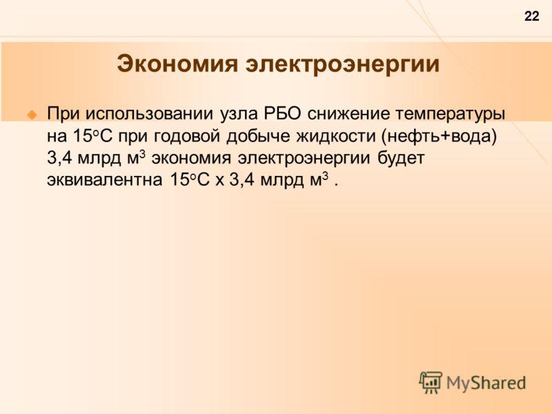 22 Экономия электроэнергии При использовании узла РБО снижение температуры на 15 о С при годовой добыче жидкости (нефть+вода) 3,4 млрд м 3 экономия электроэнергии будет эквивалентна 15 о С х 3,4 млрд м 3.