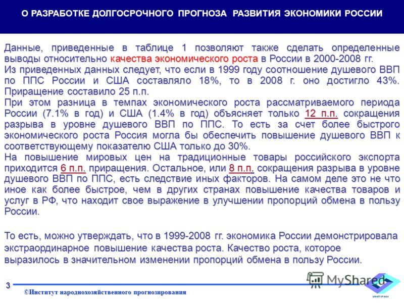 ©Институт народнохозяйственного прогнозирования 3 Данные, приведенные в таблице 1 позволяют также сделать определенные выводы относительно качества экономического роста в России в 2000-2008 гг. Из приведенных данных следует, что если в 1999 году соот