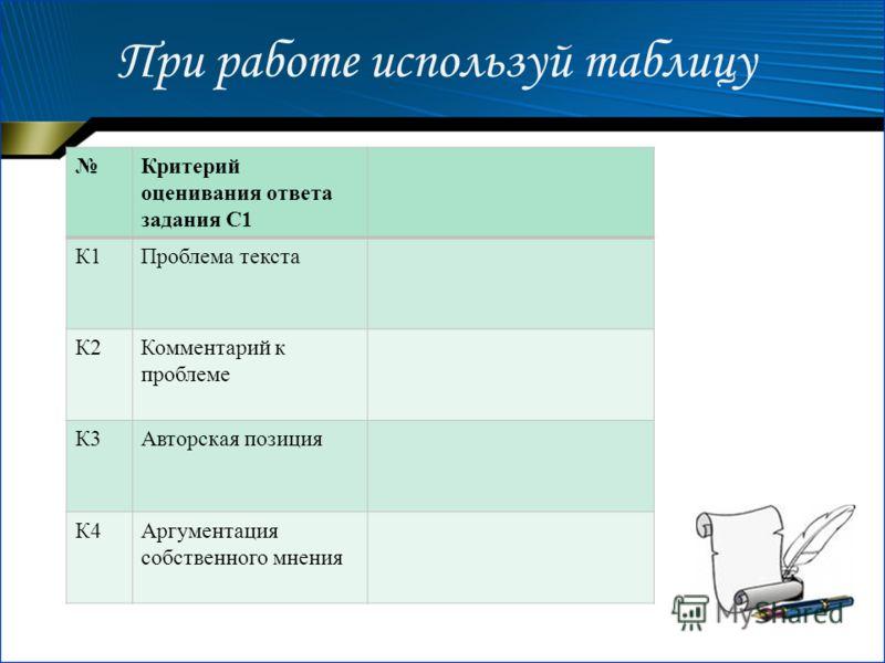 При работе используй таблицу Критерий оценивания ответа задания С1 К1Проблема текста К2Комментарий к проблеме К3Авторская позиция К4Аргументация собственного мнения