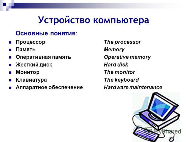 Устройство компьютера Основные понятия: Процессор The processor Память Memory Оперативная памятьOperative memory Жесткий дискHard disk Монитор The monitor Клавиатура The keyboard Аппаратное обеспечение Hardware maintenance