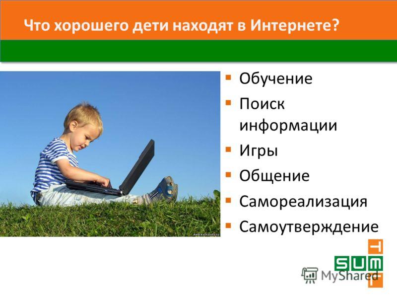 Что хорошего дети находят в Интернете? Обучение Поиск информации Игры Общение Самореализация Самоутверждение