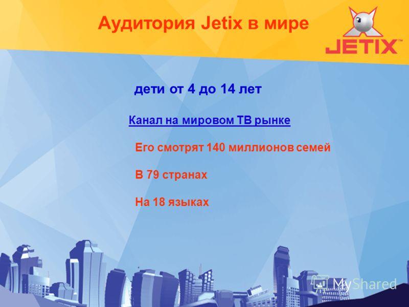 дети от 4 до 14 лет Канал на мировом ТВ рынке Его смотрят 140 миллионов семей В 79 странах На 18 языках Аудитория Jetix в мире