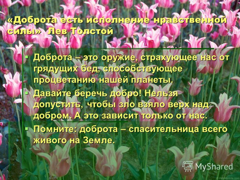«Доброта есть исполнение нравственной силы» Лев Толстой Доброта – это оружие, страхующее нас от грядущих бед, способствующее процветанию нашей планеты. Доброта – это оружие, страхующее нас от грядущих бед, способствующее процветанию нашей планеты. Да