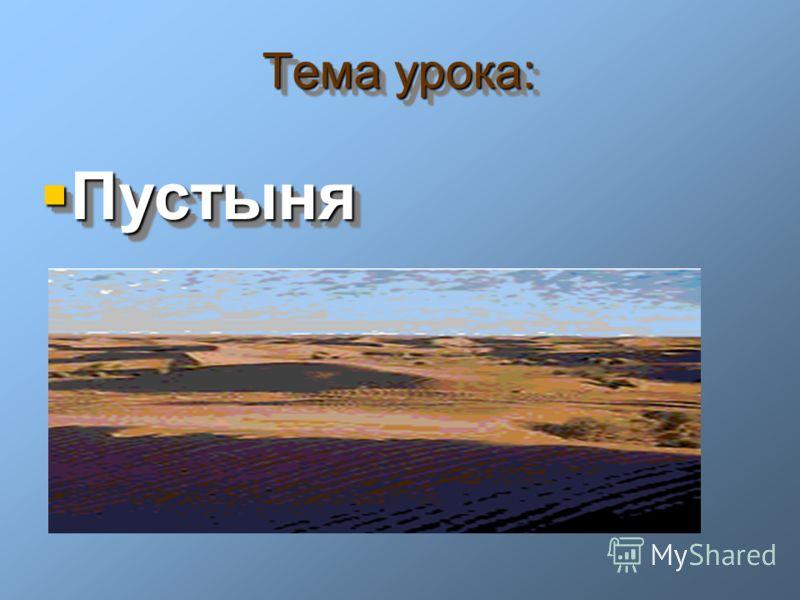 Тема урока: Пустыня Пустыня