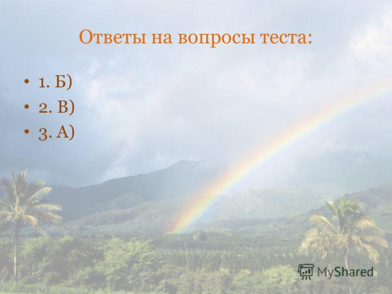 Ответы на вопросы теста: 1. Б) 2. В) 3. А)