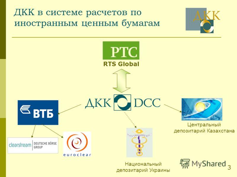 ДКК в системе расчетов по иностранным ценным бумагам Центральный депозитарий Казахстана Национальный депозитарий Украины RTS Global 3