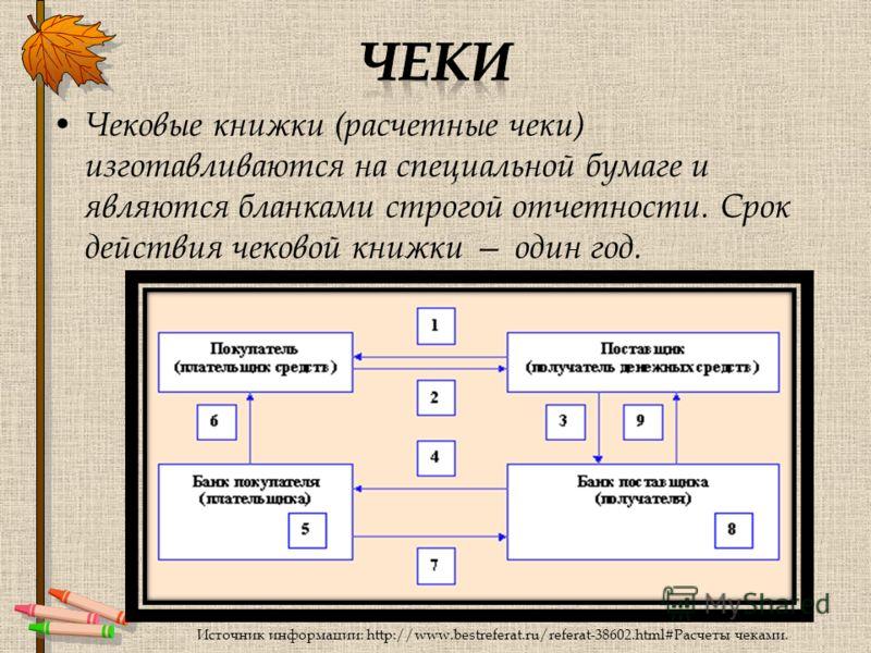 Чековые книжки (расчетные чеки) изготавливаются на специальной бумаге и являются бланками строгой отчетности. Срок действия чековой книжки один год. Источник информации: http://www.bestreferat.ru/referat-38602.html#Расчеты чеками.