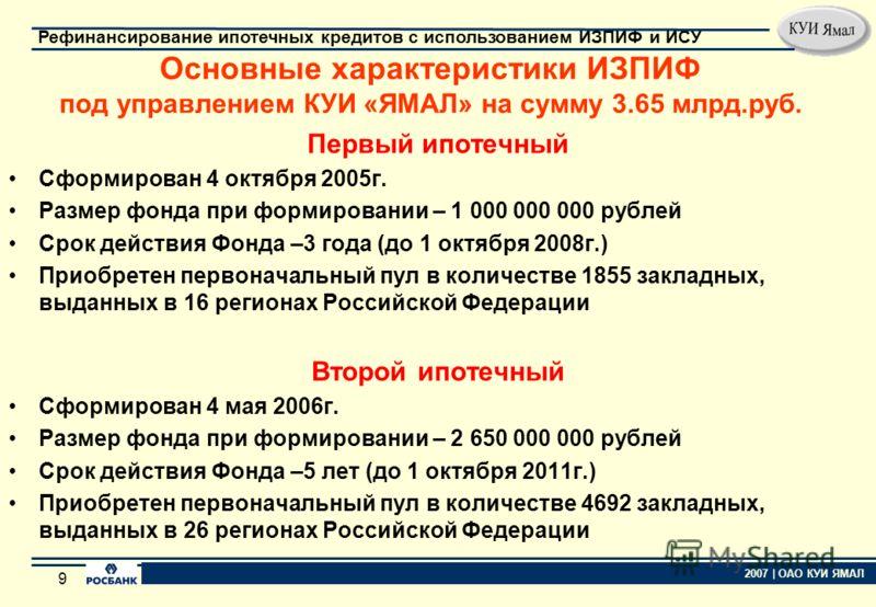 8 2007 | ОАО КУИ ЯМАЛ Рефинансирование ипотечных кредитов с использованием ИЗПИФ и ИСУ 8 Участие управляющих компаний в создании ИЗПИФ (8 ИЗПИФ на сумму 6.6 млрд.руб.)