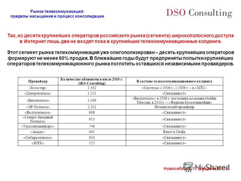 Рынок телекоммуникаций: пределы насыщения и процесс консолидации Новосибирск, 17 февраля 2011 г. Провайдер Количество абонентов в июле 2010 г. (iKS-Consulting) В составе телекоммуникационного холдинга «Комстар»1 362«Система» с 2006 г., с 2009 г. – в