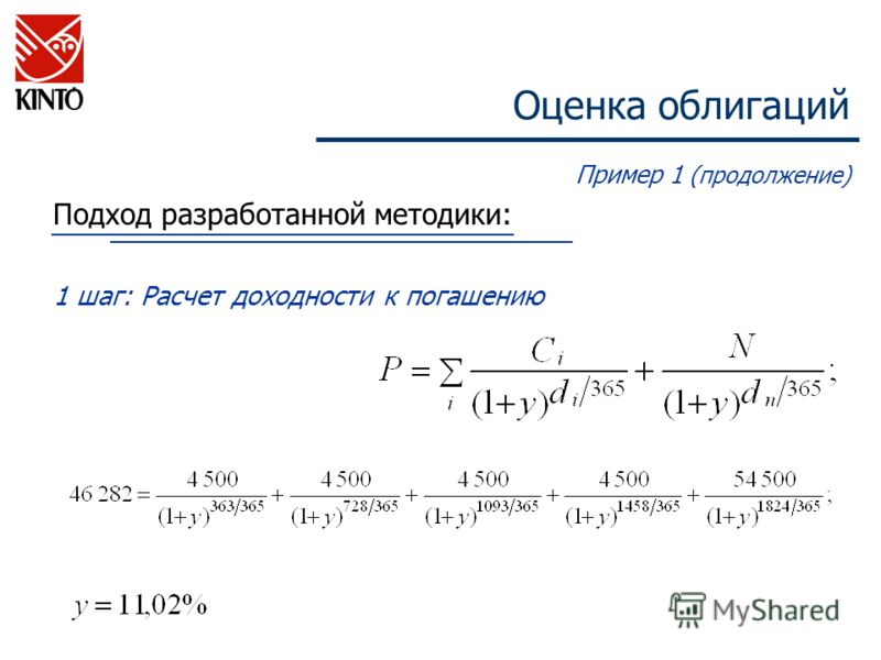 Оценка облигаций Пример 1 (продолжение) Подход разработанной методики: 1 шаг: Расчет доходности к погашению