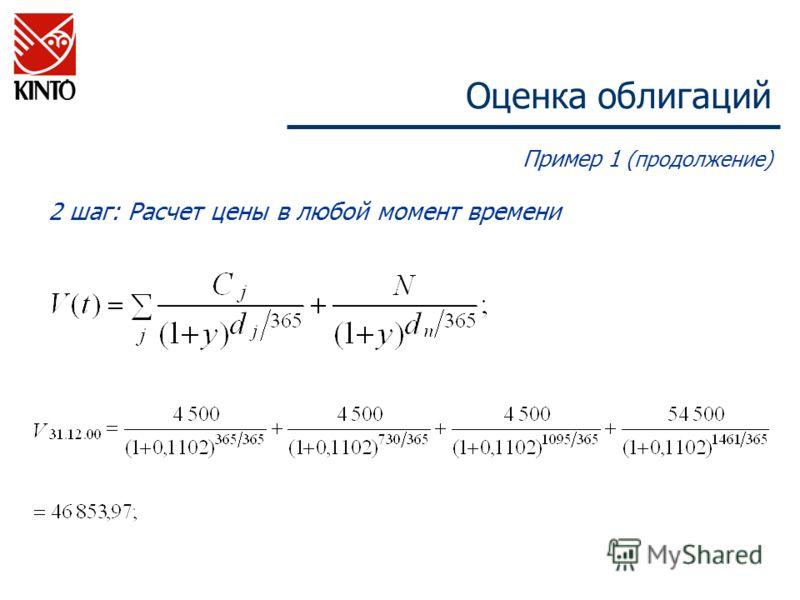 Оценка облигаций Пример 1 (продолжение) 2 шаг: Расчет цены в любой момент времени