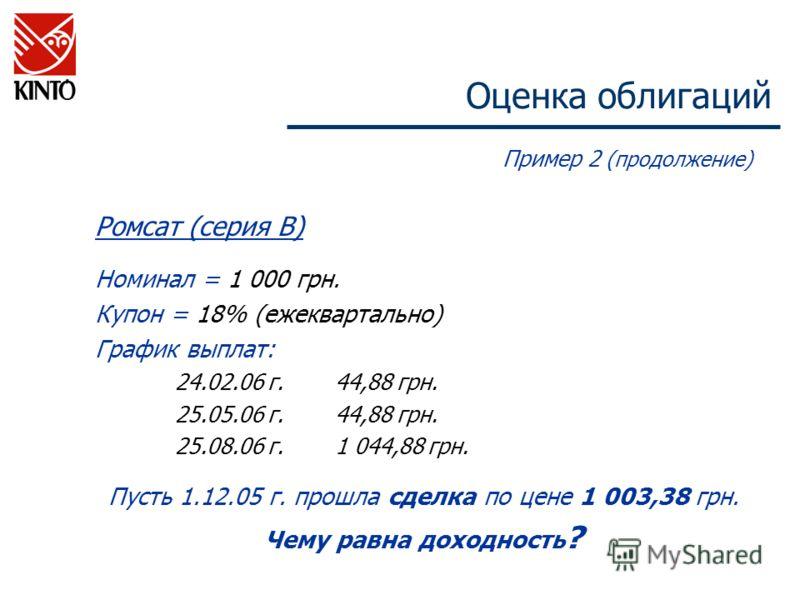 Оценка облигаций Пример 2 (продолжение) Ромсат (серия В) Номинал = 1 000 грн. Купон = 18% (ежеквартально) График выплат: 24.02.06 г.44,88 грн. 25.05.06 г.44,88 грн. 25.08.06 г.1 044,88 грн. Пусть 1.12.05 г. прошла сделка по цене 1 003,38 грн. Чему ра