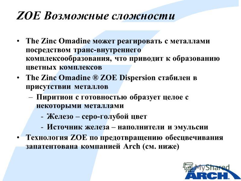 ZOE Возможные сложности The Zinc Omadine может реагировать с металлами посредством транс-внутреннего комплексообразования, что приводит к образованию цветных комплексов The Zinc Omadine ® ZOE Dispersion стабилен в присутствии металлов –Пиритион с гот