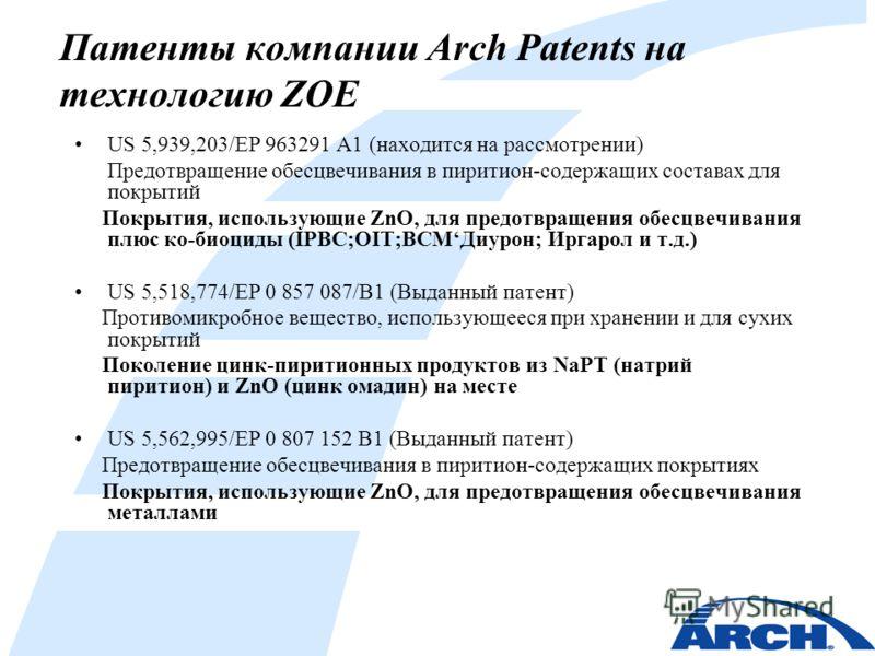 Патенты компании Arch Patents на технологию ZOE US 5,939,203/EP 963291 A1 (находится на рассмотрении) Предотвращение обесцвечивания в пиритион-содержащих составах для покрытий Покрытия, использующие ZnO, для предотвращения обесцвечивания плюс ко-биоц