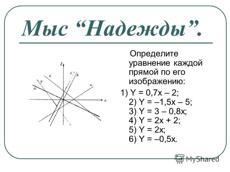 Мыс Надежды. Определите уравнение каждой прямой по его изображению: 1) Y = 0,7x – 2; 2) Y = –1,5x – 5; 3) Y = 3 – 0,8x; 4) Y = 2x + 2; 5) Y = 2x; 6) Y = –0,5x.