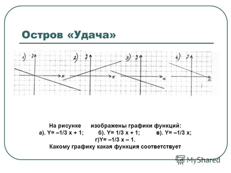 Остров «Удача» На рисунке изображены графики функций: а). Y= –1/3 х + 1; б). Y= 1/3 х + 1; в). Y= –1/3 х; г)Y= –1/3 х – 1. Какому графику какая функция соответствует