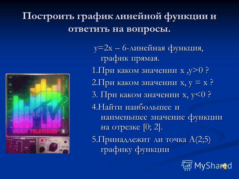 Найти координаты точки пересечения графиков У=2х+5 У=4-3х Решение: Найдем координату х, приравняв правые части уравнений : 1. 2х+5=4-3х 5х= -1 Х=-0,2 Найдем координату у, подставив вместо х его значение в любое уравнение: Если х=-0,2,то у=2*(-0,2)+5=