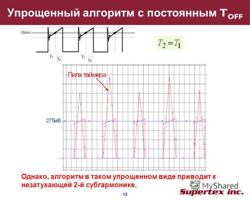 13 13 Упрощенный алгоритм с постоянным T OFF Однако, алгоритм в таком упрощенном виде приводит к незатухающей 2-й субгармонике.