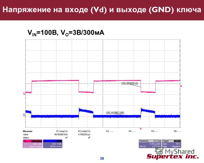38 38 Напряжение на входе (Vd) и выходе (GND) ключа V IN =100B, V O =3В/300мA