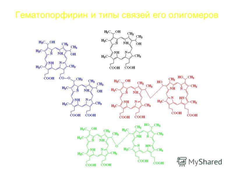 Гематопорфирин и типы связей его олигомеров
