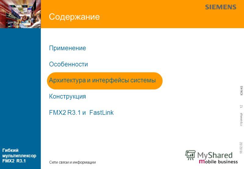 страница ICN AS Гибкий мультиплексор FMX2 R3.1 Сети связи и информации 18.02.02 12 Содержание Применение Особенности Архитектура и интерфейсы системы Конструкция FMX2 R3.1 и FastLink