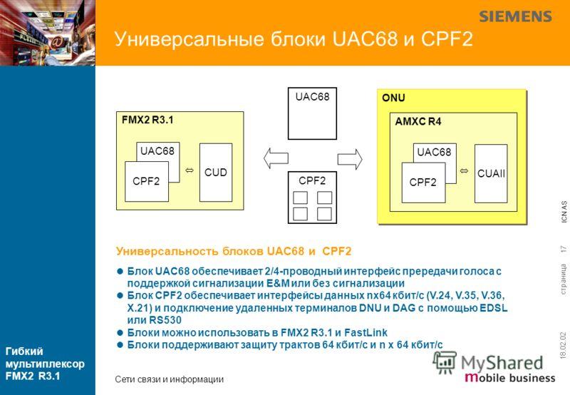 страница ICN AS Гибкий мультиплексор FMX2 R3.1 Сети связи и информации 18.02.02 17 ONU AMXC R4 CPF2 Универсальность блоков UAC68 и CPF2 Блок UAC68 обеспечивает 2/4-проводный интерфейс прередачи голоса с поддержкой сигнализации E&M или без сигнализаци