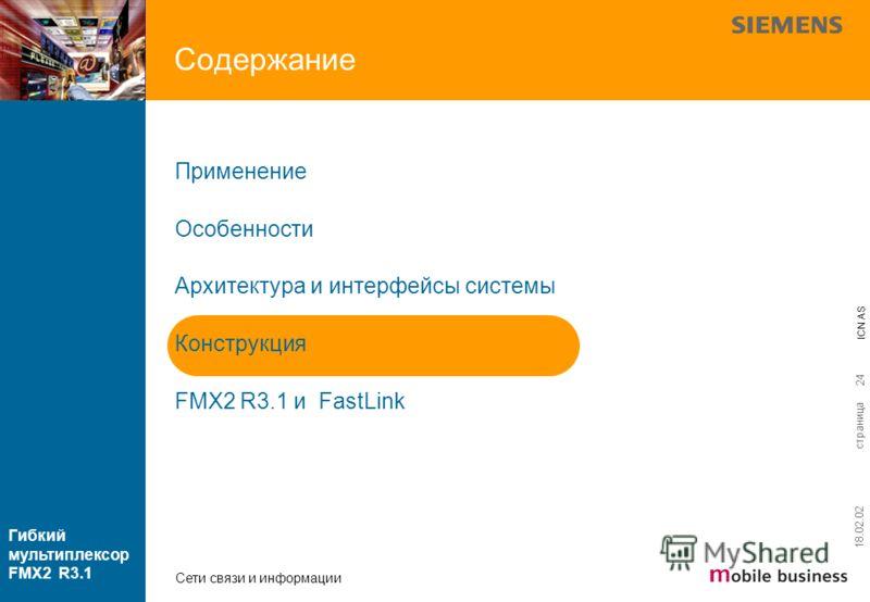 страница ICN AS Гибкий мультиплексор FMX2 R3.1 Сети связи и информации 18.02.02 24 Содержание Применение Особенности Архитектура и интерфейсы системы Конструкция FMX2 R3.1 и FastLink