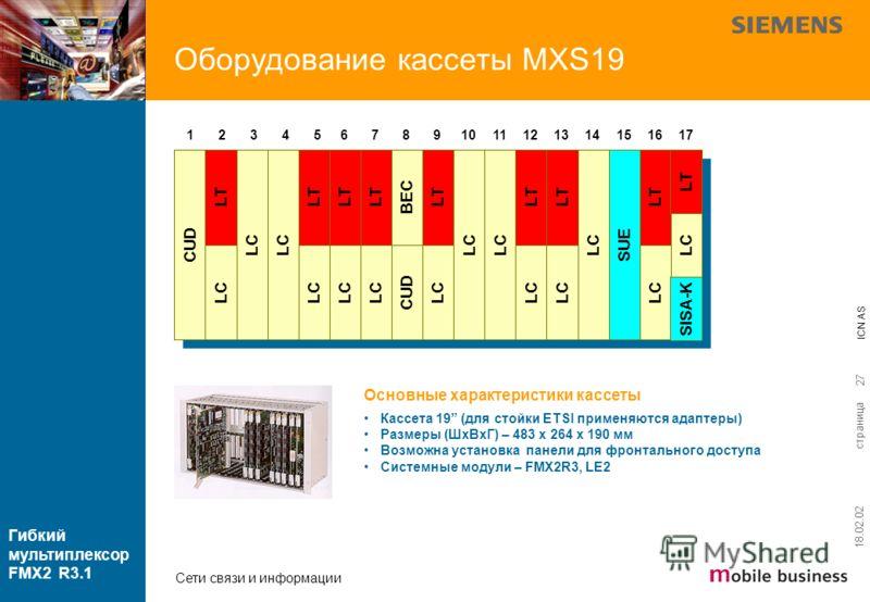 страница ICN AS Гибкий мультиплексор FMX2 R3.1 Сети связи и информации 18.02.02 27 Оборудование кассеты MXS19 1 SUE 2 CUD 3 LC 4 567891011121314151617 Основные характеристики кассеты Кассета 19 (для стойки ETSI применяются адаптеры) Размеры (ШхВхГ) –