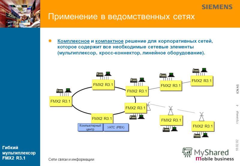 страница ICN AS Гибкий мультиплексор FMX2 R3.1 Сети связи и информации 18.02.02 4 FMX2 R3.1 Компьютерный центр Компьютерный центр Комплексное и компактное решение для корпоративных сетей, которое содержит все необходимые сетевые элементы (мультиплекс