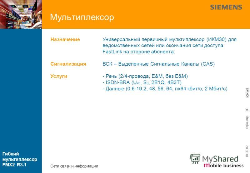 страница ICN AS Гибкий мультиплексор FMX2 R3.1 Сети связи и информации 18.02.02 8 Универсальный первичный мультиплексор (ИКМ30) для ведомственных сетей или окончания сети доступа FastLink на стороне абонента. ВСК – Выделенные Сигнальные Каналы (CAS)