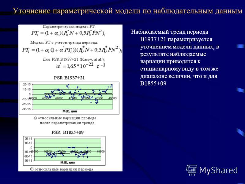 Уточнение параметрической модели по наблюдательным данным Наблюдаемый тренд периода В1937+21 параметризуется уточнением модели данных, в результате наблюдаемые вариации приводятся к стационарному виду в том же диапазоне величин, что и для В1855+09