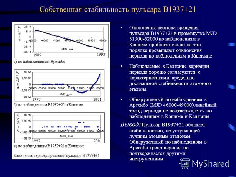 Собственная стабильность пульсара В1937+21 Отклонения периода вращения пульсара В1937+21 в промежутке MJD 51300-52000 по наблюдениям в Кашиме приблизительно на три порядка превышают отклонения периода по наблюдениям в Калязине Наблюдаемые в Калязине
