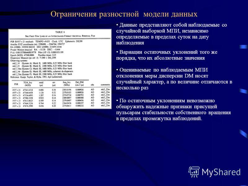 Ограничения разностной модели данных Данные представляют собой наблюдаемые со случайной выборкой МПИ, независимо определяемые в пределах суток на дату наблюдения Вариации остаточных уклонений того же порядка, что их абсолютные значения Оцениваемые по