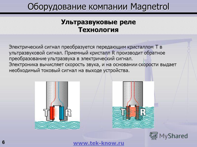 6 www.tek-know.ru Оборудование компании Magnetrol Ультразвуковые реле Технология Электрический сигнал преобразуется передающим кристаллом T в ультразвуковой сигнал. Приемный кристалл R производит обратное преобразование ультразвука в электрический си
