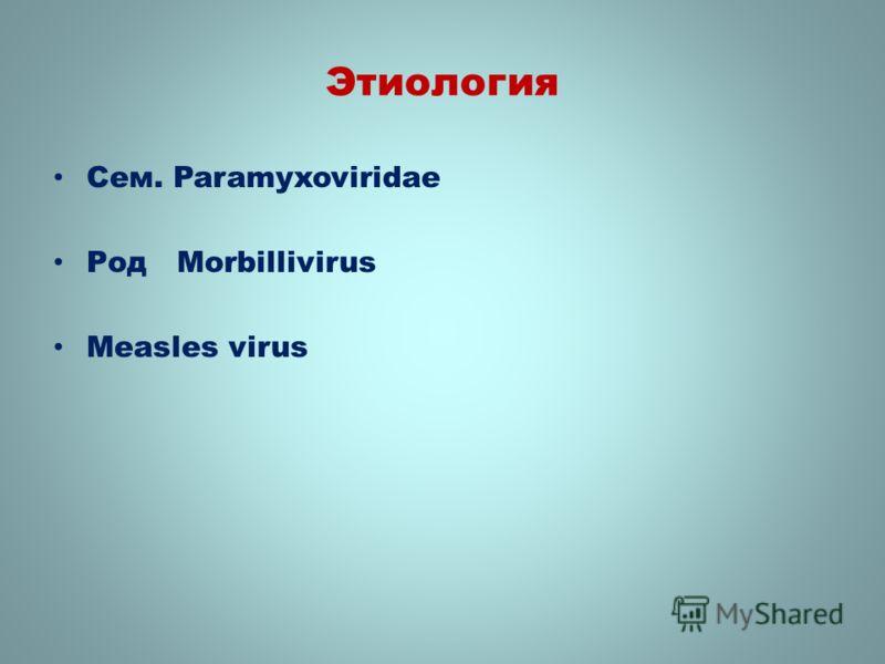 Этиология Сем. Paramyxoviridae Род Morbillivirus Measles virus