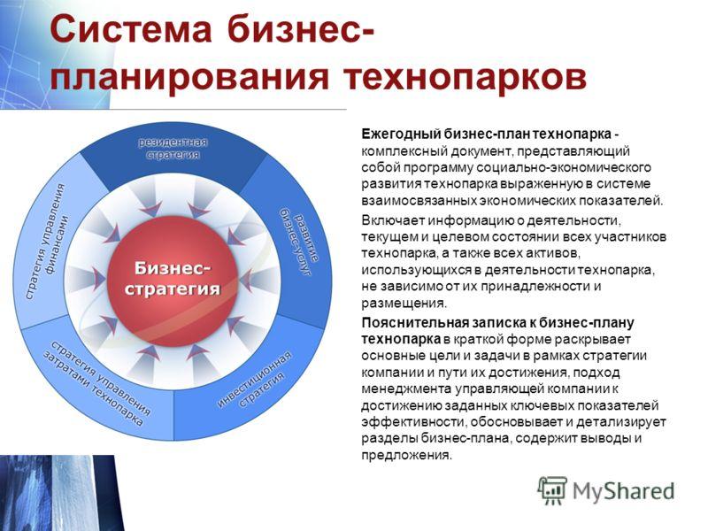 Система бизнес- планирования технопарков Ежегодный бизнес-план технопарка - комплексный документ, представляющий собой программу социально-экономического развития технопарка выраженную в системе взаимосвязанных экономических показателей. Включает инф