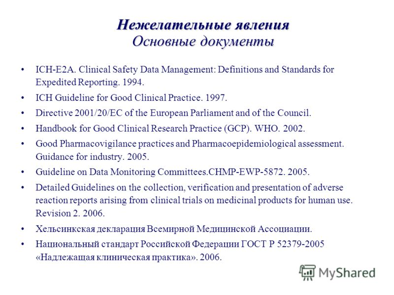 Нежелательные явления Основные документы ICH-E2A. Clinical Safety Data Management: Definitions and Standards for Expedited Reporting. 1994. ICH Guideline for Good Clinical Practice. 1997. Directive 2001/20/EC of the European Parliament and of the Cou